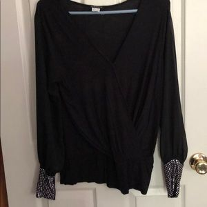 Black blouse with silver on the bottom sleeves
